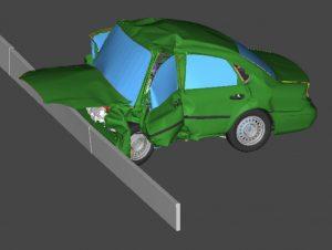 Crash d'une voiture sur mobilier urbain (état final)